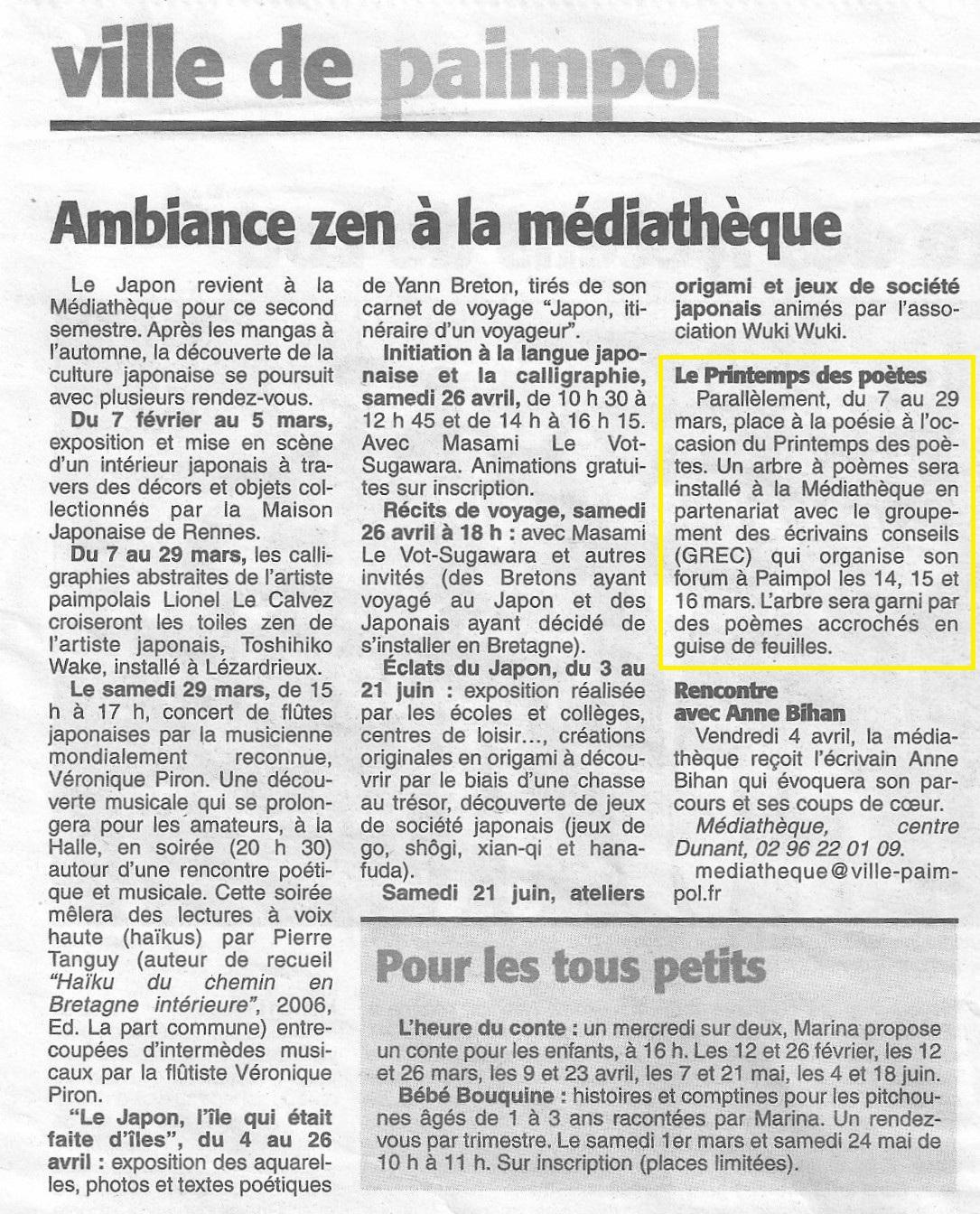 La Presse d'Armor, Ambiance zen à la médiathèque (5 février 2014)