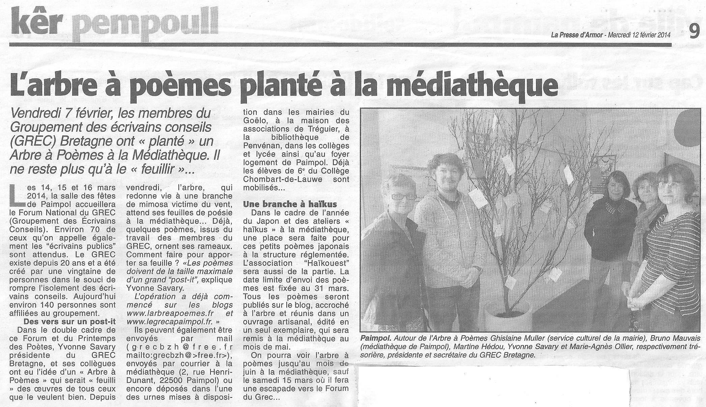 La Presse d'Armor, L'arbre à poèmes planté à la médiathèque (12 février 2014)
