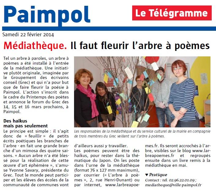 Le Télégramme, Médiathèque, il faut fleurir l'arbre à poèmes (22 février 2014)