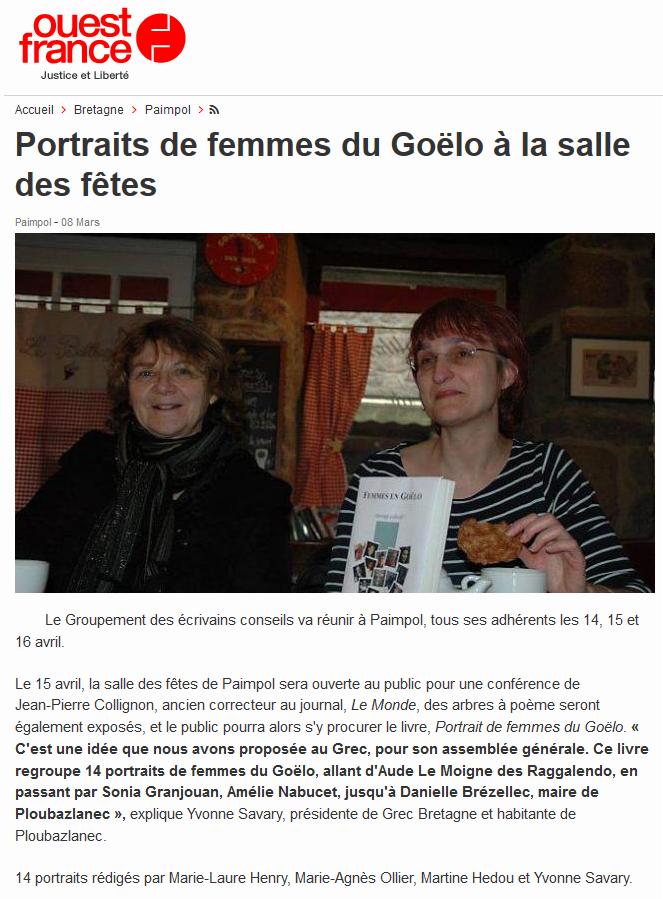 Ouest-France, Portraits de femmes du Goëlo à la salle des fêtes (8 mars 2014)